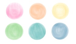 Set of colored circles. Hand-drawn bright strokes on white background. For banners, stickers, and posters