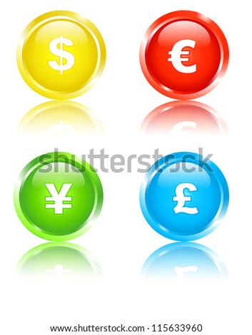 Set of 4 colored icons with currency signs