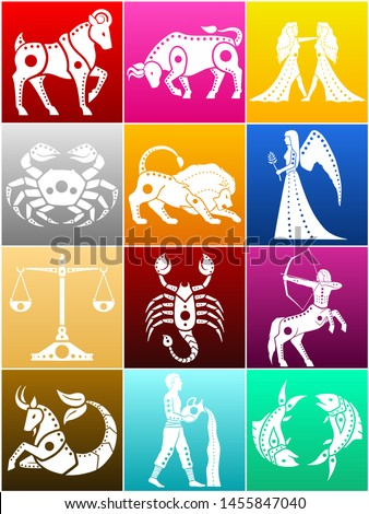 Set of colored illustration of zodiac symbols