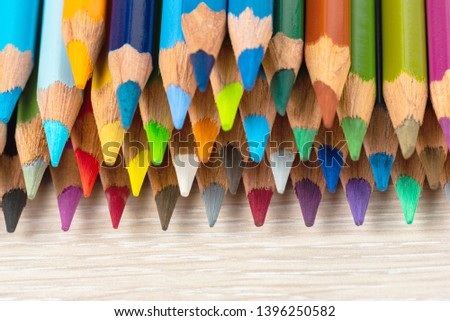 Set of colored pencils. Colored pencils for drawing different colors on a light background. #1396250582