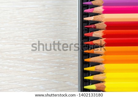Set of colored pencils. Colored pencils for drawing different colors on a light background. #1402133180
