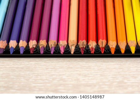 Set of colored pencils. Colored pencils for drawing different colors on a light background. #1405148987