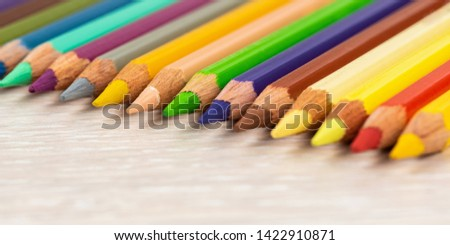 Set of colored pencils. Colored pencils for drawing different colors on a light background. #1422910871