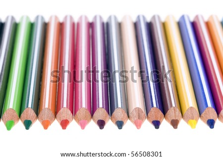set of colored pencils isolated on white background