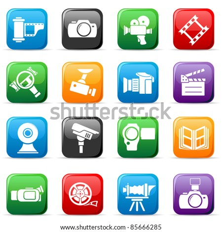 Set of colored video and photo buttons, illustration