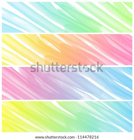 Set of colorful abstract art water colour hand paint background