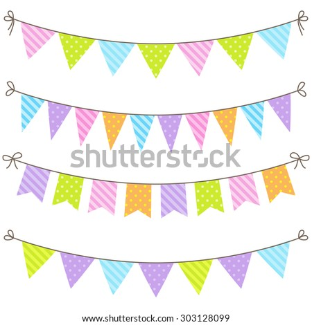 Set of colorful and bright bunting. Raster version