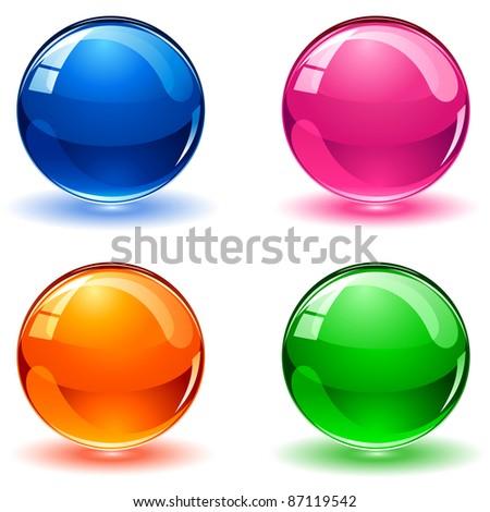 Set of colorful balls on white background, illustration - stock photo