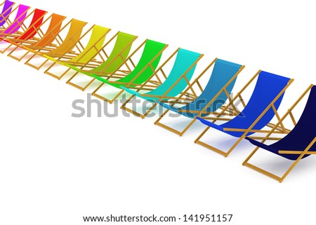 Set of colorful beach chairs