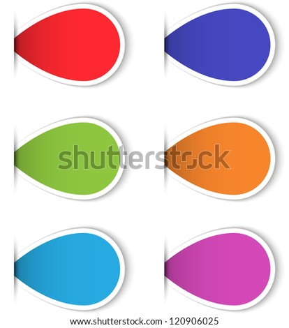 Set of colorful blank sticky labels for web interface design and print