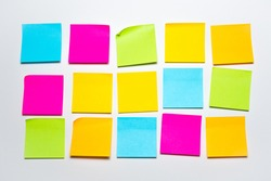 Set of colorful blank sticky notes background. Empty sticky notepad paper copy space collection stuck on wall
