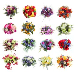 set of colorful bouquets of artificial flowers isolated on white background