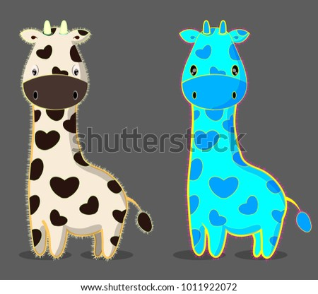 set of colorful bright pastel color giraffes; cute cartoon wild animals illustration; baby giraffes image