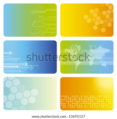 Set of colorful business cards - stock photo