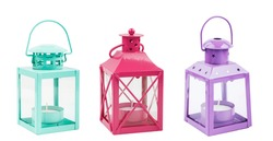 Set of colorful candle holders and lanterns isolated on white background. Clipart for christmas, holiday designs