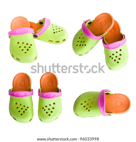 set of colorful Children's rubber sandals isolated on the white background