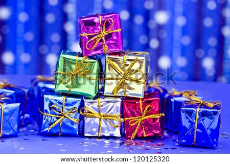 set of colorful Christmas decorations