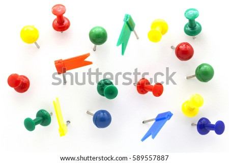 Set of colorful color push pins Thumbtacks. top view isolated on white background