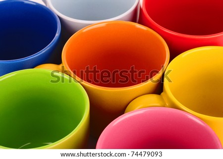 Set of colorful cups closeup