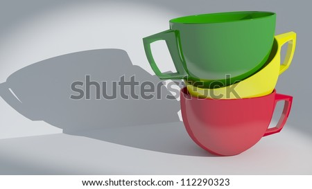 Set of colorful cups pyramid