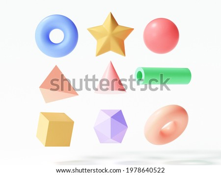 Set of colorful 3d object elements, torus, star, sphere, triangle, tube, cube on isolated white background. 3d render illustration Сток-фото ©
