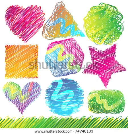 Set of Colorful Doodled Shapes - stock photo