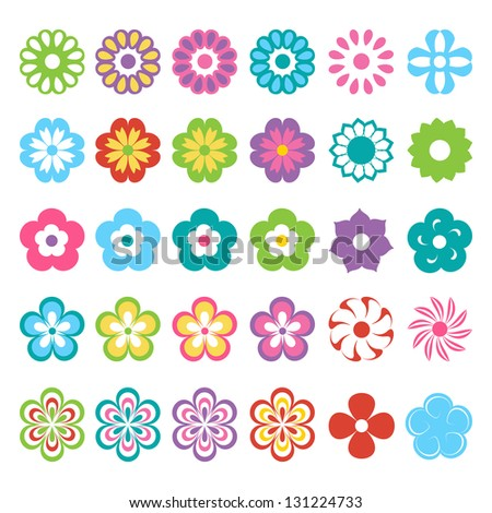 set of colorful flowers (raster version of the vector)