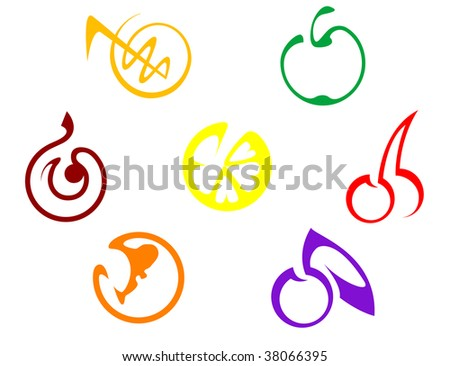 Set of colorful fruits icons isolated on white - abstract emblem or logo template