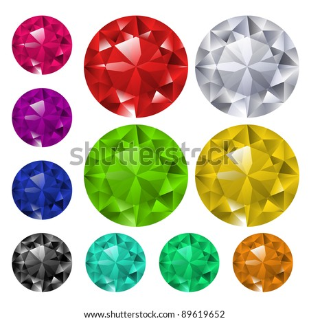 Set of colorful gemstones - raster version