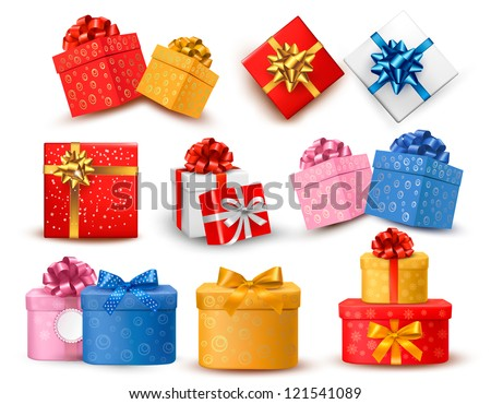 Set of colorful gift boxes with bows and ribbons. Raster version of vector.
