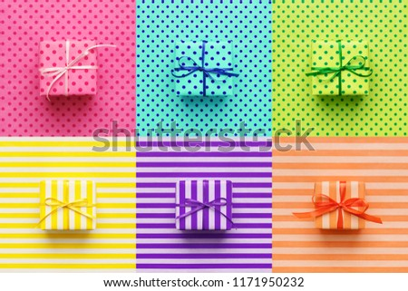 Set of colorful gifts on wrapping paper. Pop art, minimal style background. Cheerful greeting card, flyer, placard, voucher or banner.