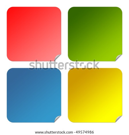 Set of colorful glossy square buttons with copy space isolated on white background.