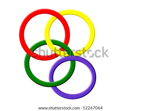 Set of colorful interlocking rings over white