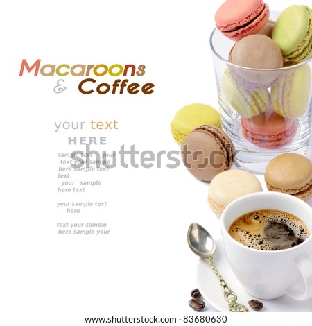 Set of colorful macaroons and coffee