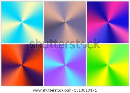 Set of colorful multicolored backgrounds with a conical gradient and metallic effect