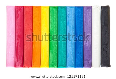 Set of colorful plasticine isolated on a white background