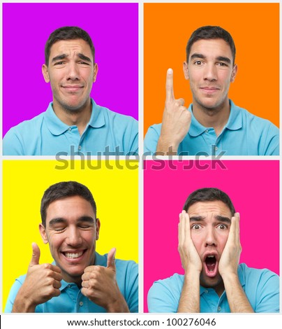 Set of colorful portraits of a young man with different poses wearing a polo shirt