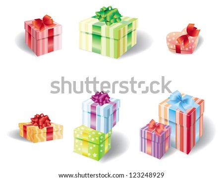Set of colorful present box, create by vector