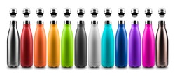 Set of colorful reusable steel stainless thermo water bottles with bottle caps, isolated on white background.