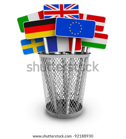 Set of colorful signs with world flags in office bucket isolated on white background