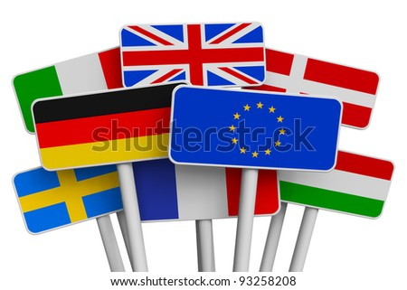 Set of colorful signs with world flags isolated on white background