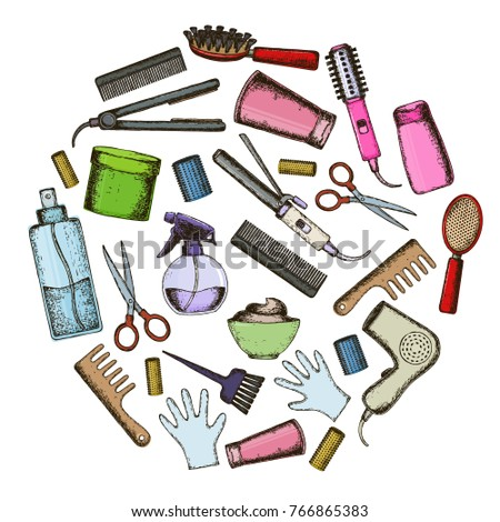 Set of colorful sketch equipments for styling and hair care. Products and tools for home remedies of hair care.