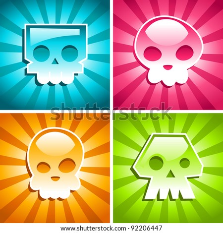 Set of colorful Skulls on Burst Background