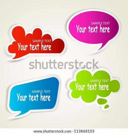 Set of colorful speech bubble paper stickers. Raster copy of vector illustration