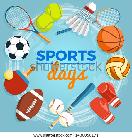 Set of colorful sport balls and gaming items at a blue background. Balls for rugby, volleyball, basketball, football, baseball, tennis and badminton shuttlecock. Healthy lifestyle tools, elements