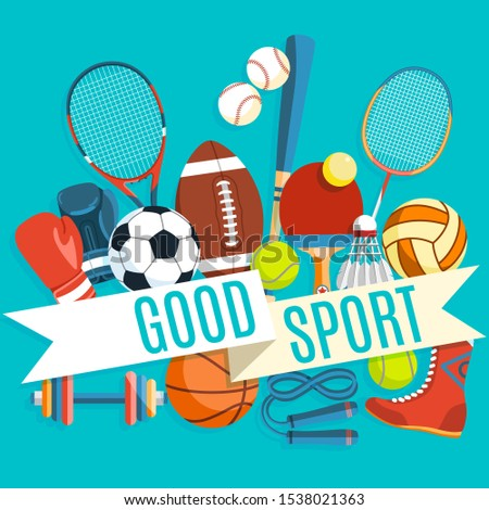 Set of colorful sport balls and gaming items at a blue background. Inscription GOOD SPORT. Healthy lifestyle tools, elements. Illustration.