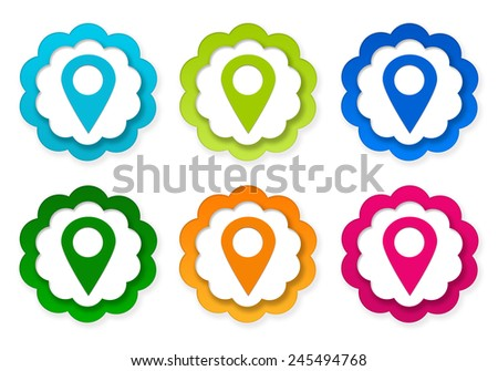 Isolated Vegetables On White Background Set Of Colorful Stickers Icons With Markers Maps In Blue Green