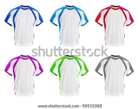 set of colorful T-shirts isolated  on white