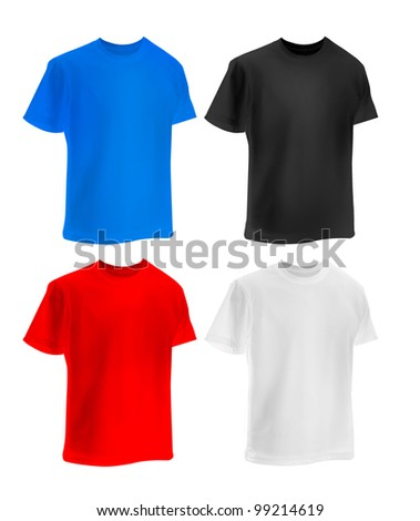 set of colorful T-shirts isolated  on white - stock photo