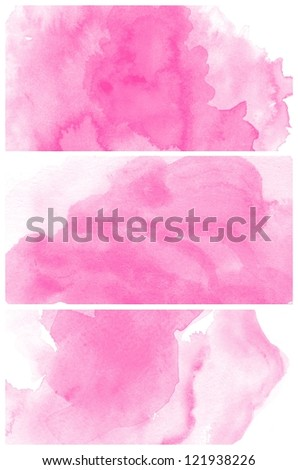 Set of colorful various Abstract pink watercolor art background hand paint